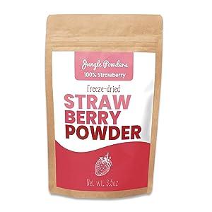Jungle Powders Strawberry Powder - 3.5oz 100% Natural Non GMO Vegan Friendly Red Freeze Dried Strawberry Powder - Super Food Strawberry Powder For Baking
