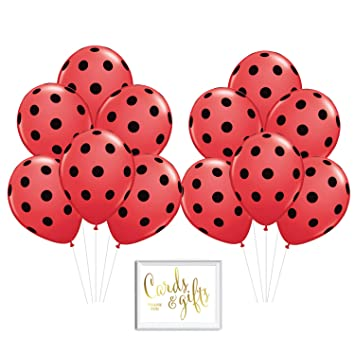 Andaz Press Bulk High Quality Latex Balloon Party Kit with Gold Cards &  Gifts Sign, Ladybug Red Black