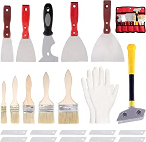 Swpeet 24Pcs 2/3/4/5 Inch Stainless Steel Putty Knife Scraper with Paint Brushes Set, 9 in 1 Tool Caulk Removal Tool Spatula Paint Remover, Metal Scraper Tool with 10 Blades Set with Storage Bag