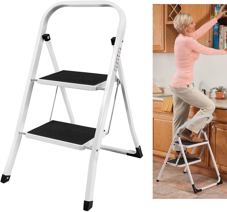 Mini escalera de 2 peldaños ligera de seguridad, resistente acero plegable portátil de cocina, alfombra antideslizante, 150 kg de capacidad, negro: Amazon.es: Hogar