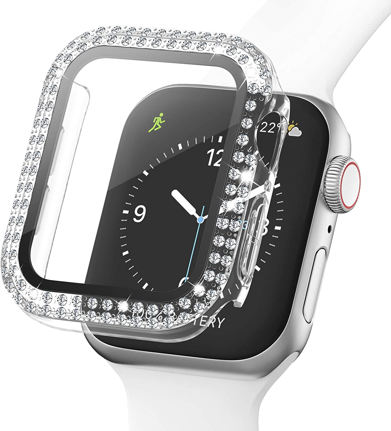 Adepoy Bling Case for Apple Watch 40mm Series 6/5/4/SE with Tempered Glass Screen Protector, Double Diamond Rhinestone All-Around Ultra-Thin Bumper Protective Cover for iWatch Women Girls(clear)