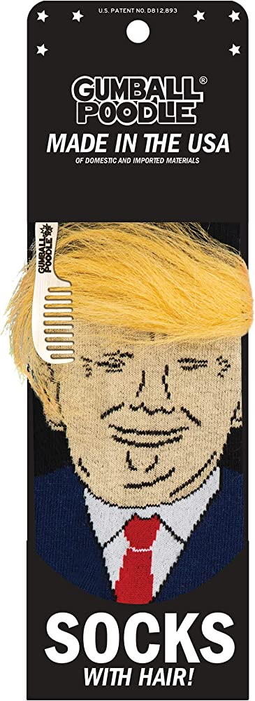 President Donald Trump Socks with 3D Fake Hair Crew Socks  MC