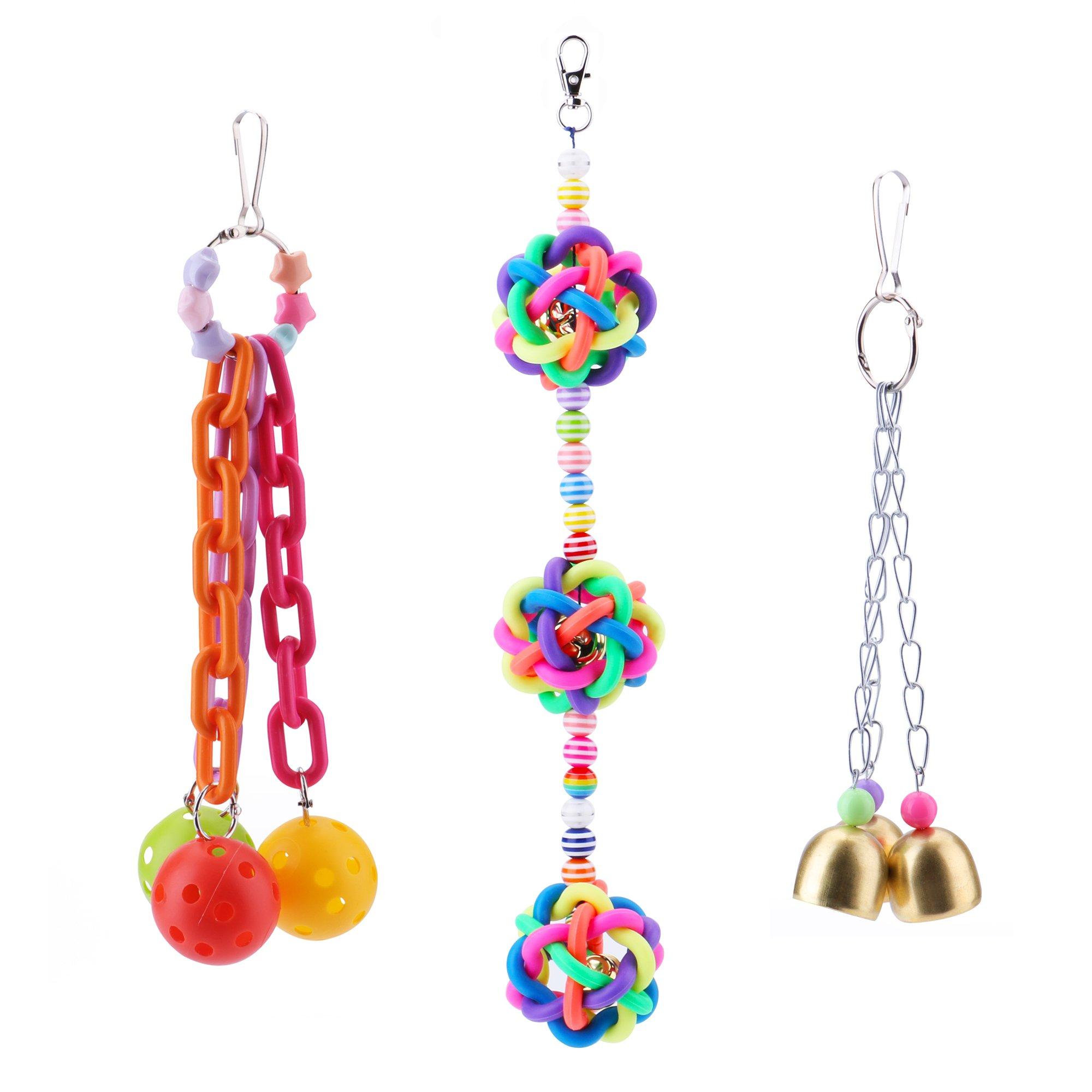 Wandergo Colorful Bird Toys Bells Small Medium Parrot (3 Pack)
