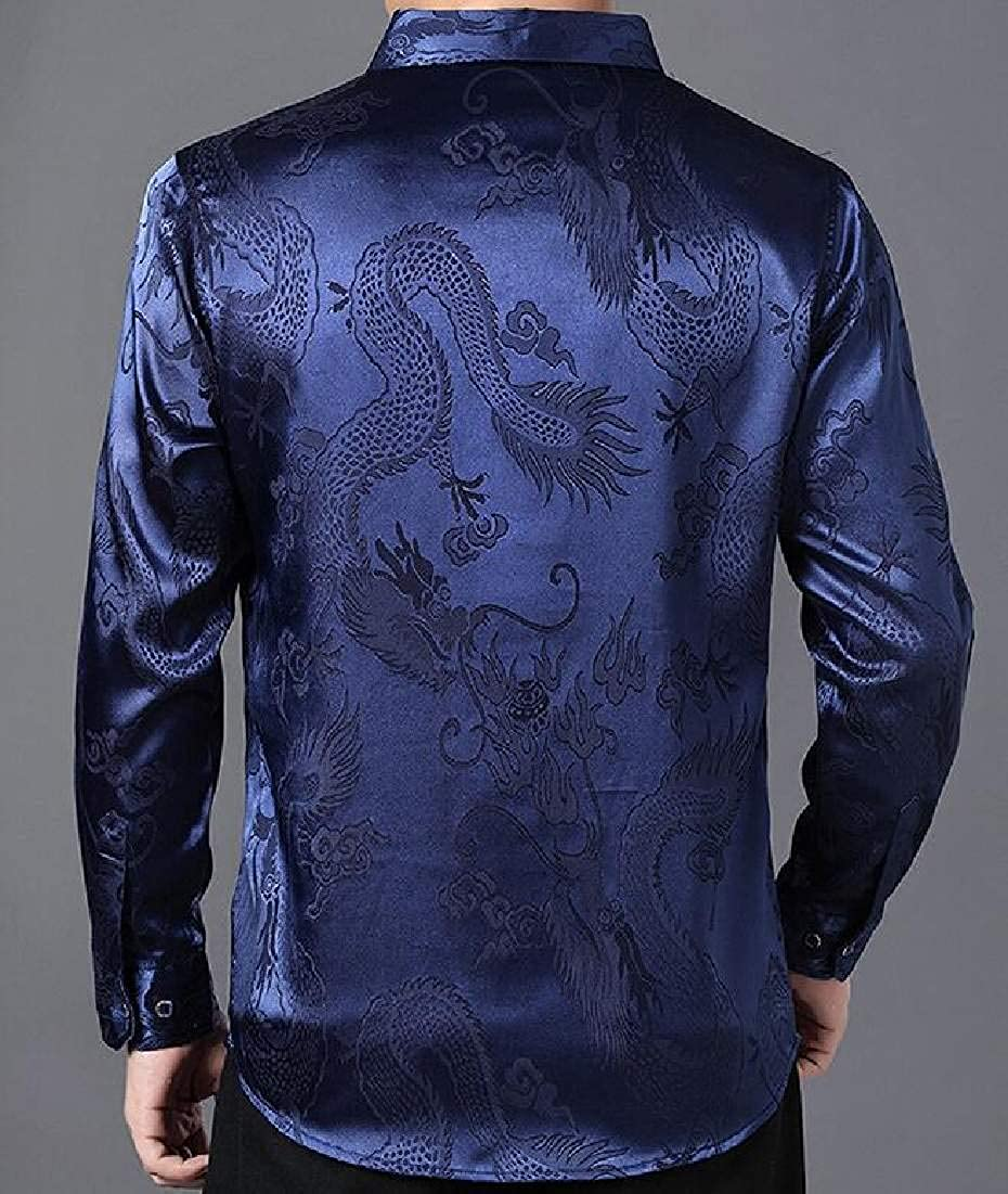 pipigo Men Big /& Tall Long Sleeve Silk Slim Fit Dress Shirt Button Down Shirt