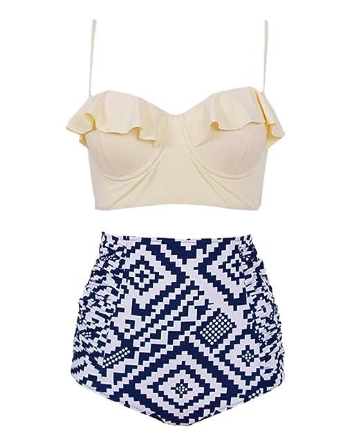 d8a1b4ef7d0fa Linda Per Comfortable High Waist Swimsuit Women 2 Pieces Bikini Plus Size  Ruffle Swimwear Pattern