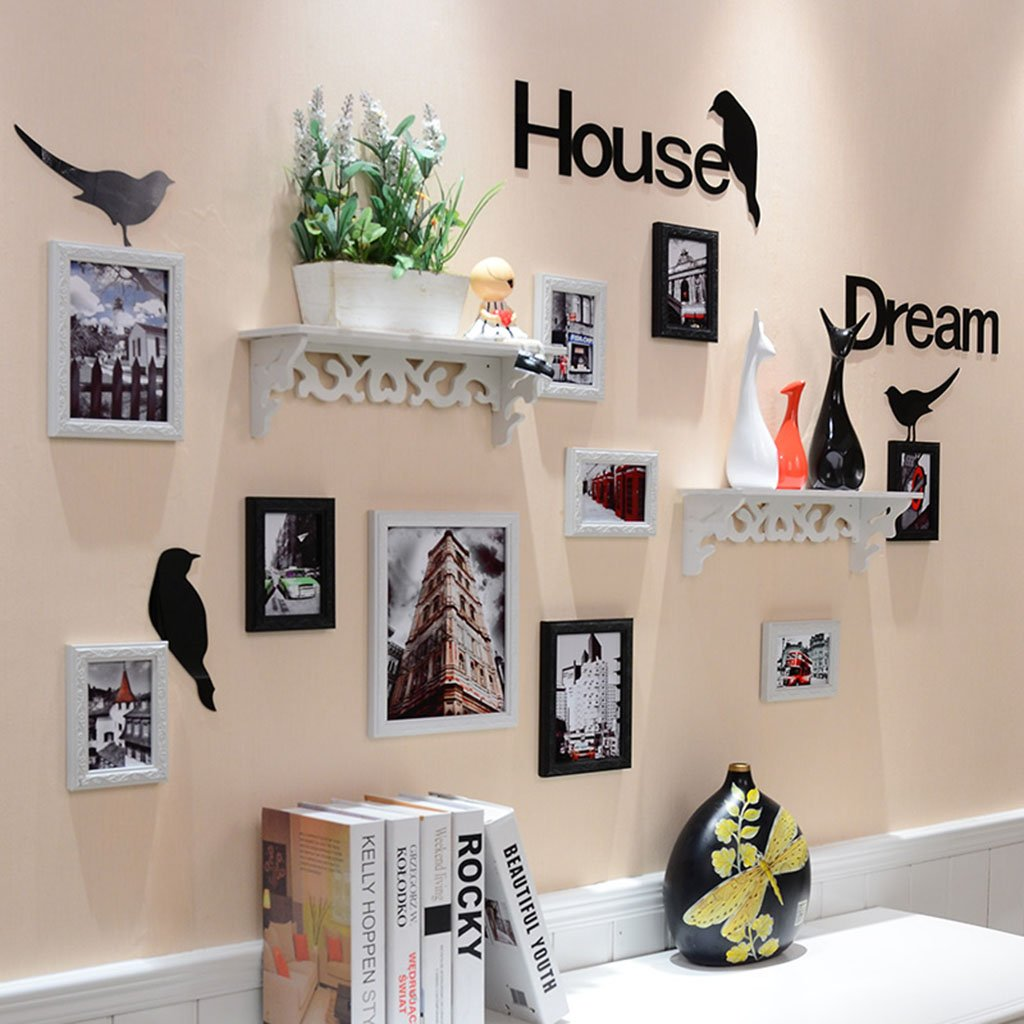Home@Wall photo frame Photo Gallery Frame Set Of Wall Fashion Home Decoration With Usable Artwork And Family, Set Of 10 ( Color : A )