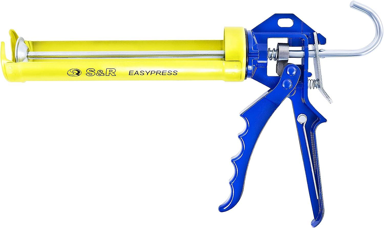 Pistola Selladora con marco giratorio de acero S/&R Pistola cartuchos silicona hasta 310 ml Relaci/ón de empuje 12:1