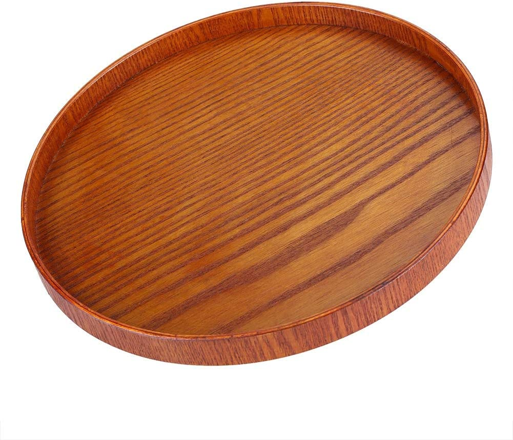 Serving Tray, 33cm Round Natural Wood Serving Tray Wooden Plate Tea Food Server Dishes Water Drink Platter,for kitchen, dining, breakfast serving, and tableware