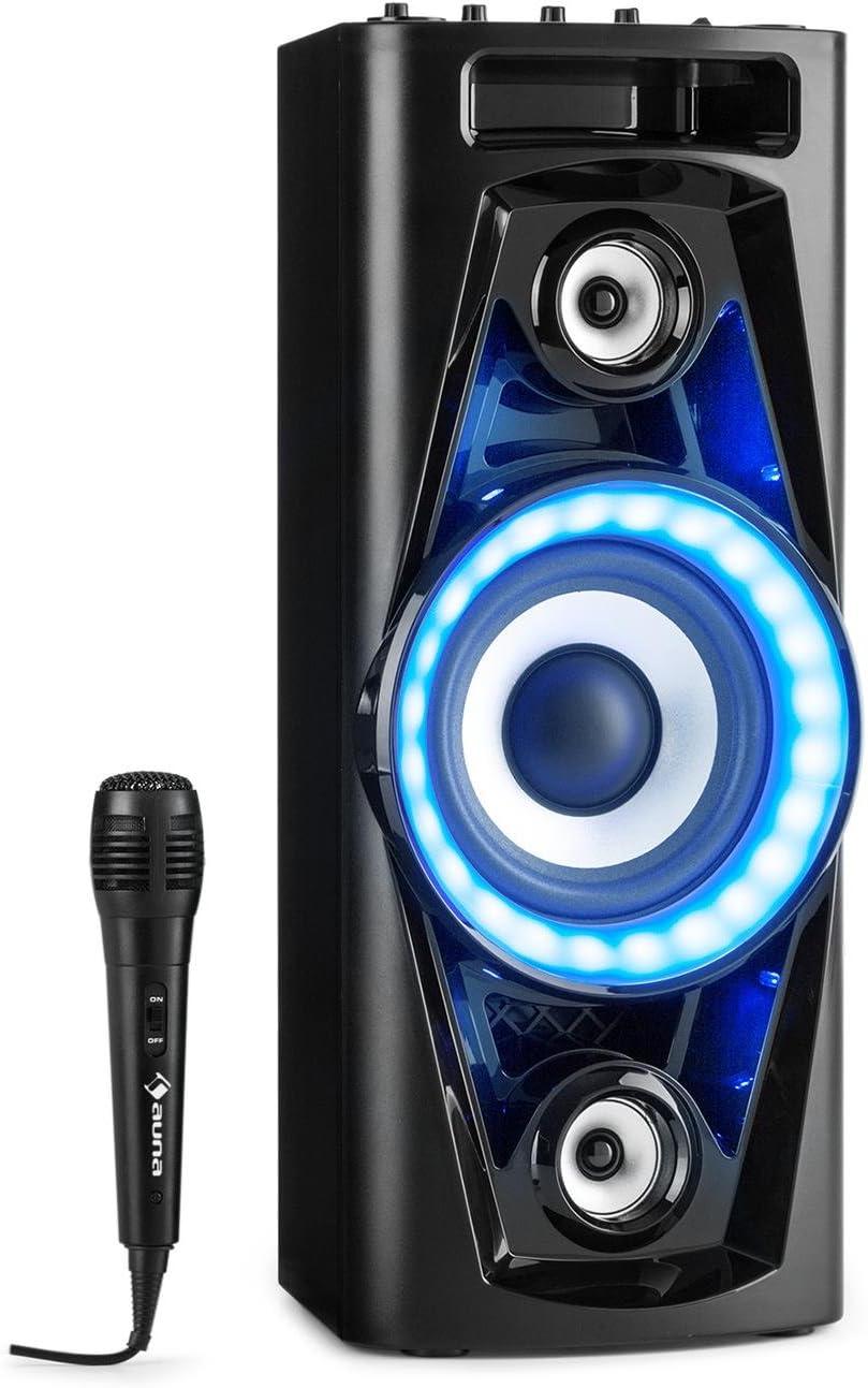 auna PPS 35 - Systema de Audio, Altavoces, Subwoofer 14 cm, 40 W de Potencia Media, Bluetooth, 2 Puertos USB con MP3, AUX, Entrada de Guitarra, Iluminación LED, Micrófono, Batería, Negro