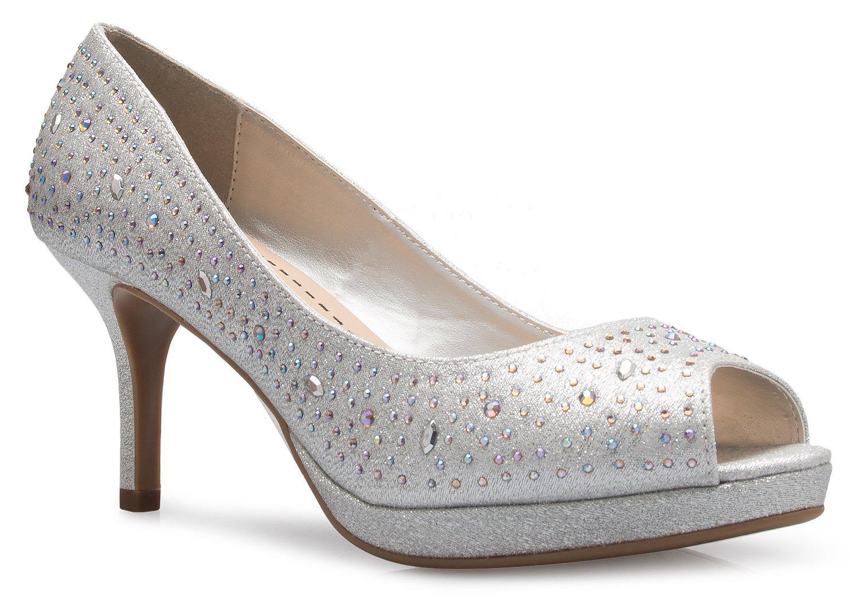 OLIVIA K Women's Open Toe Kitten Heel Pumps with Rhinestone Glitter - Causal, Comfortable