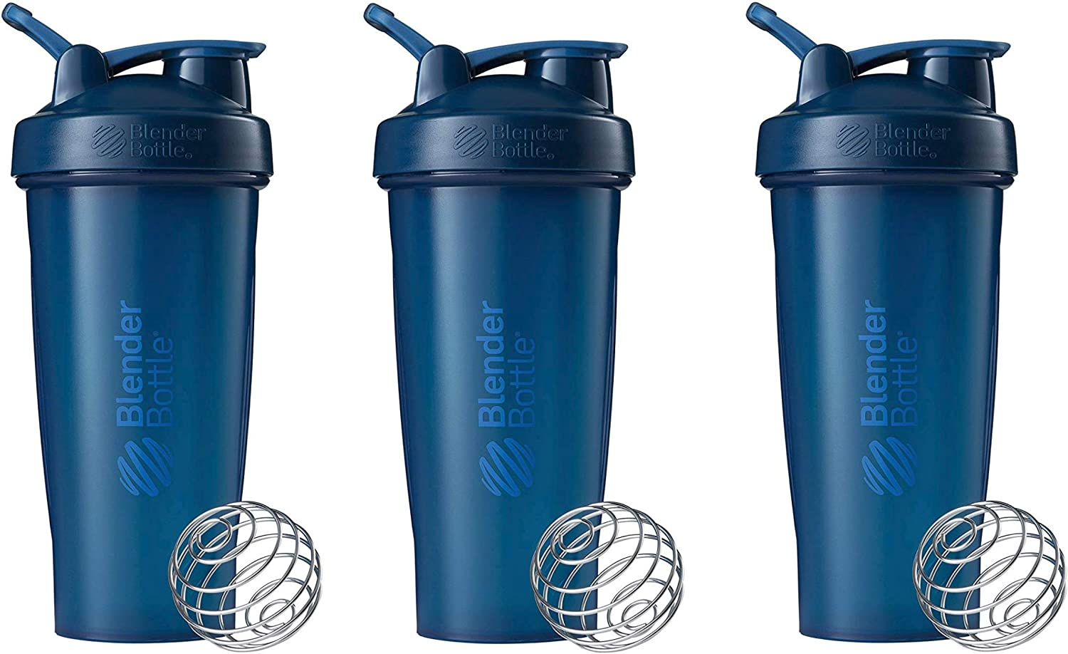 BlenderBottle Classic Loop Top Shaker Bottle 3-Pack, 28 oz (Navy)