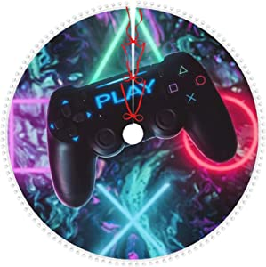 CLERO& Christmas Tree Skirt with Pom Pom Trim 30 Inch Colorful Video Game Controller Play Games Xmas Tree Skirt for New Year Holiday Party Decoration Ornaments