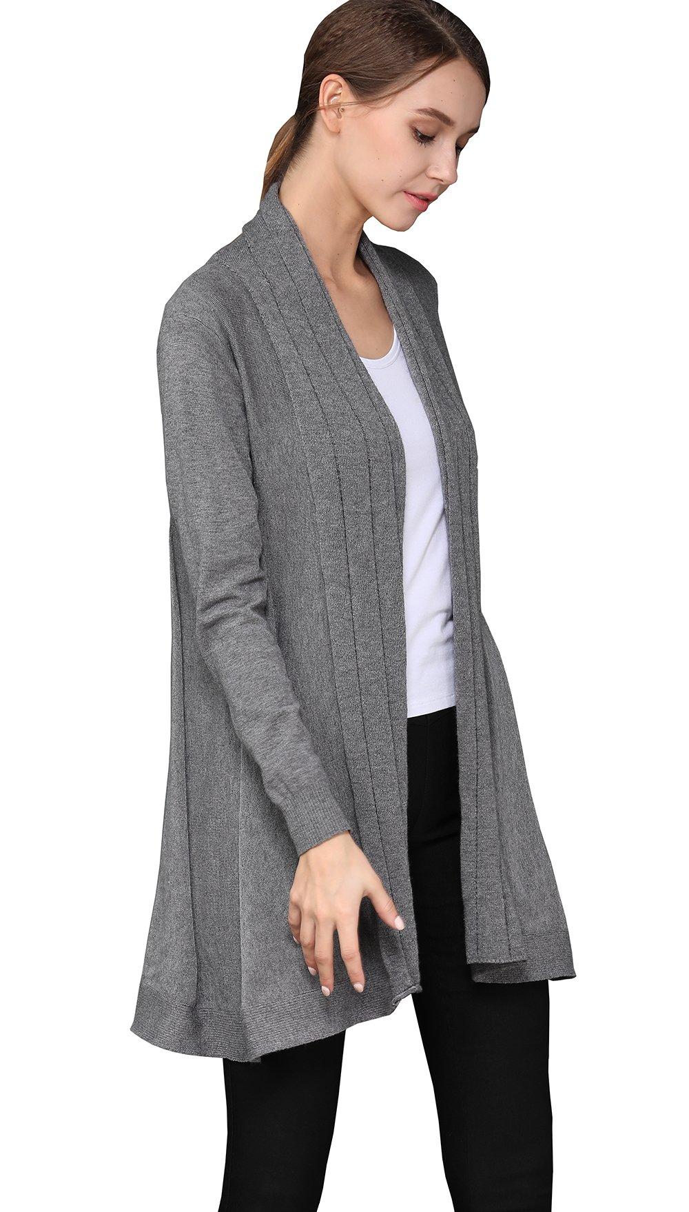shengweiao Womens Long Sleeve Classic Knit Cardigan Sweater (Large, Dark Grey) by shengweiao (Image #6)