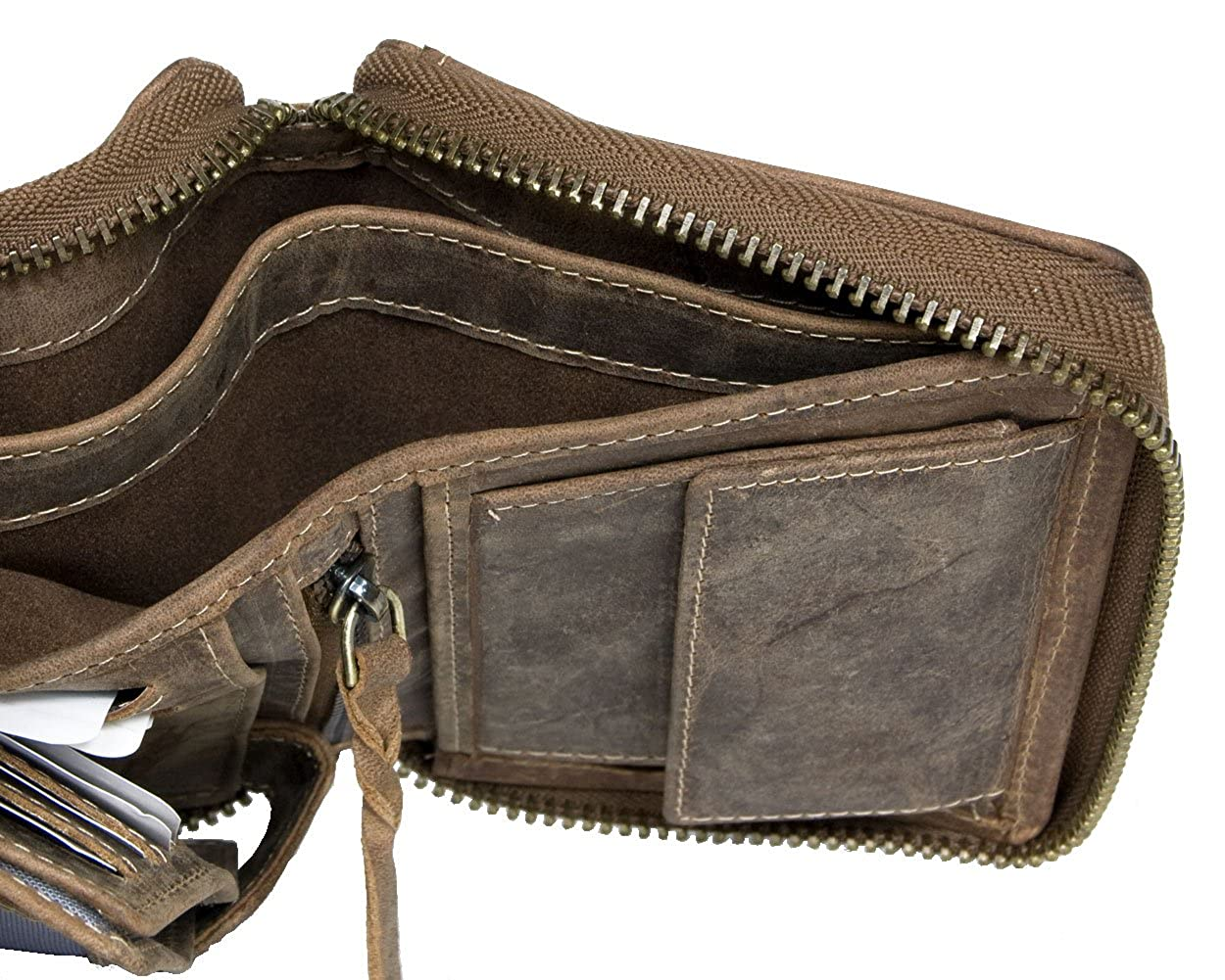 Large Natural Genuine Leather Wallet with Metal Zipper Around with Scorpion