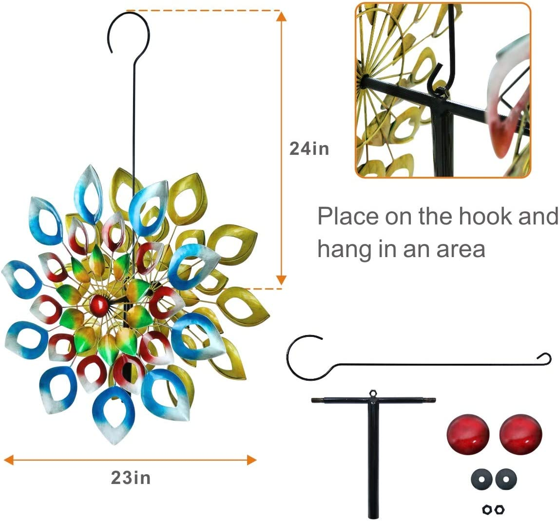 3D Kinetic Wind Spinners with Stable Stake Metal Garden Spinner with Reflective Painting Unique Lawn Ornament Wind Mill for Outdoor Yard Lawn Garden Decorations Multi-Color