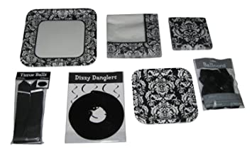 Black and White Damask Paper Plates Napkins Decorations Balloons Party Set for 8  sc 1 st  Amazon.com & Amazon.com: Black and White Damask Paper Plates Napkins Decorations ...