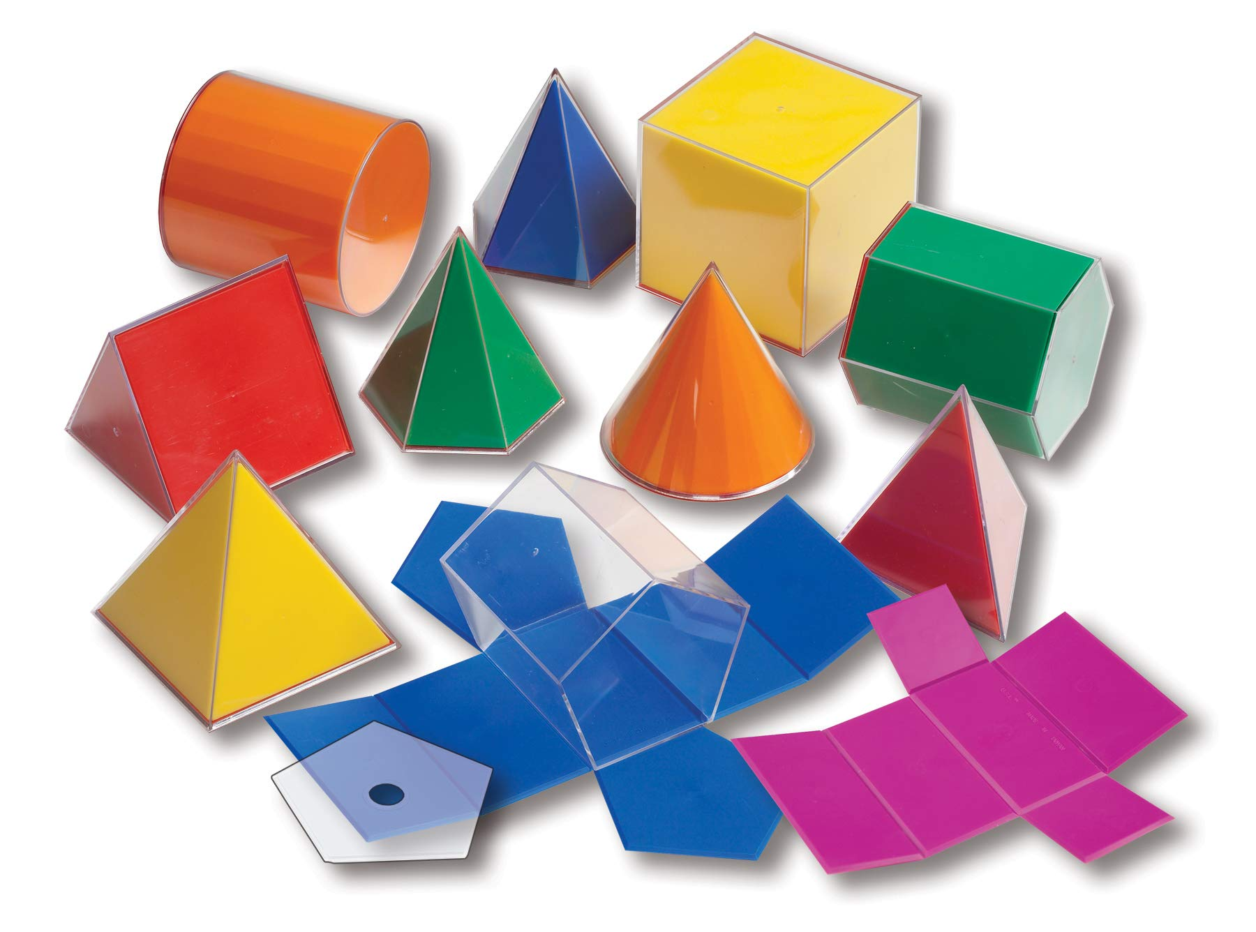 Learning Advantage Folding 3D GeoFigures - Set of 11 Multicolored Shapes - Includes 2D Nets and Activity Guide - Early Math Manipulative and Geometry for Kids by Learning Advantage