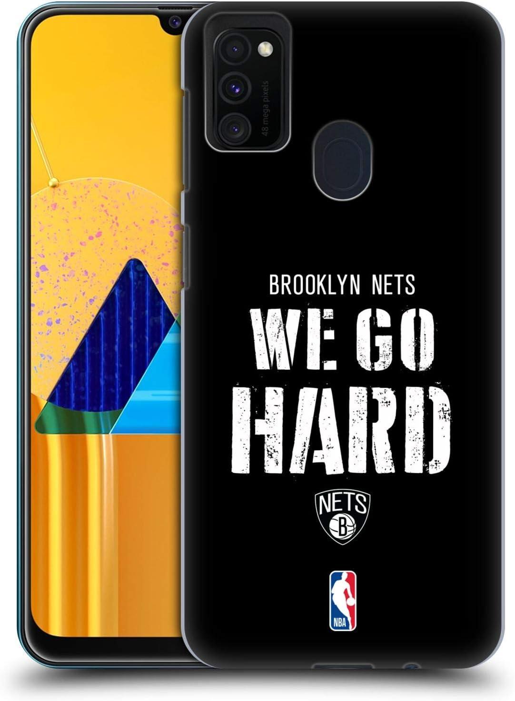 Head Case Designs Oficial NBA Nets We Go Hard Eslóganes del Equipo 2018/19 Carcasa rígida Compatible con Galaxy M30s (2019)/M21 (2020)