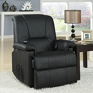 reseda comfort recliner chair lazy boy power lift wall hugger massage black pu - Lazy Boy Lift Chairs