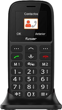 Oferta amazon: Teléfono Móvil Funker - C65 Negro Easy Plus- para Personas Mayores con botón SOS y Base cargadora. Cámara de Fotos y Agenda con Fotocontactos.