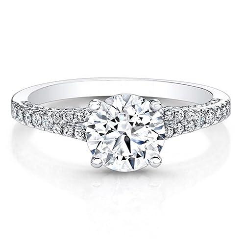 nuovo stile e68eb b3304 Anello di fidanzamento in oro bianco 14 k con diamante 0,86 k, solitario da  regalare per l'anniversario