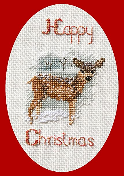 Amazon Com Deer In Snowstorm Cross Stitch Christmas Card Kit Home