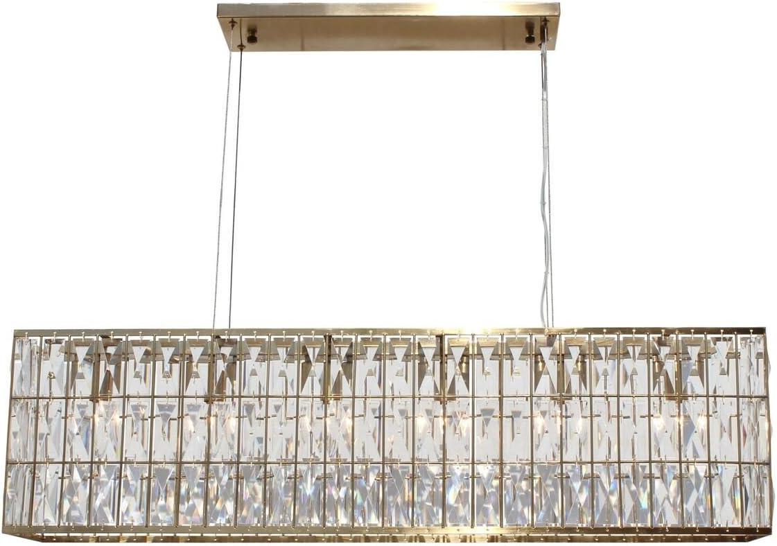 The Monroe Rectangular Clear Crystal Chandelier, Brass Finish