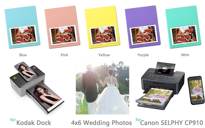 WELLGAIN Wedding Album/Our Adventure Book. 80-Pockets 4x6 inches Photo Album for Kodak Dock & Wi-Fi 4x6 Photo Printer - Blue