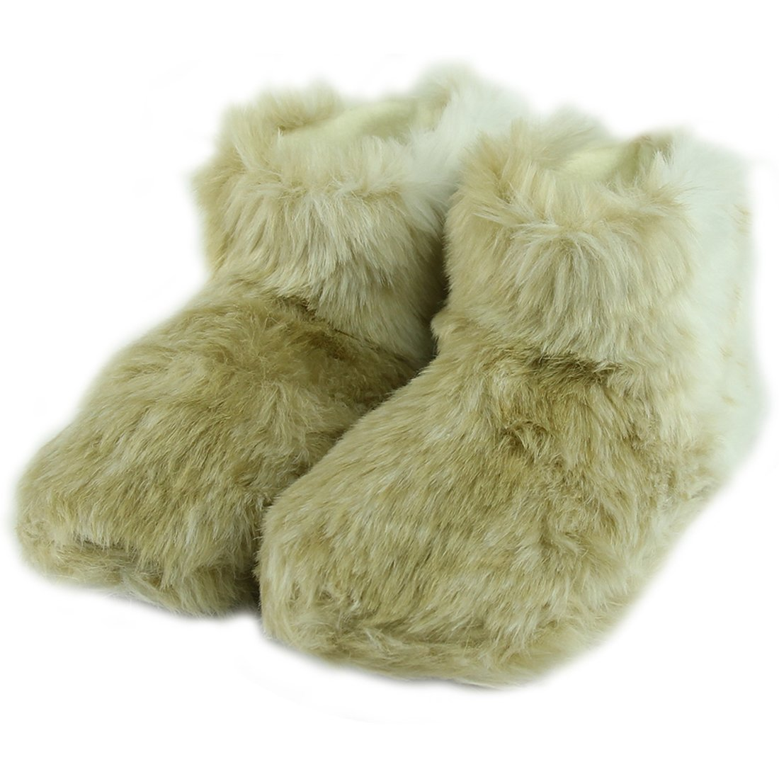 House Boot Slippers Forfoot Women's Warm Plush Soft Sole Indoor Slipper Beige Small