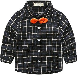 YuanDian Bambino Autunno Casual Camicia A Quadri Maniche Lunghe Cravatta A Farfalla Pulsante Bimbo Camicette 3-8 Anni (90-130CM)