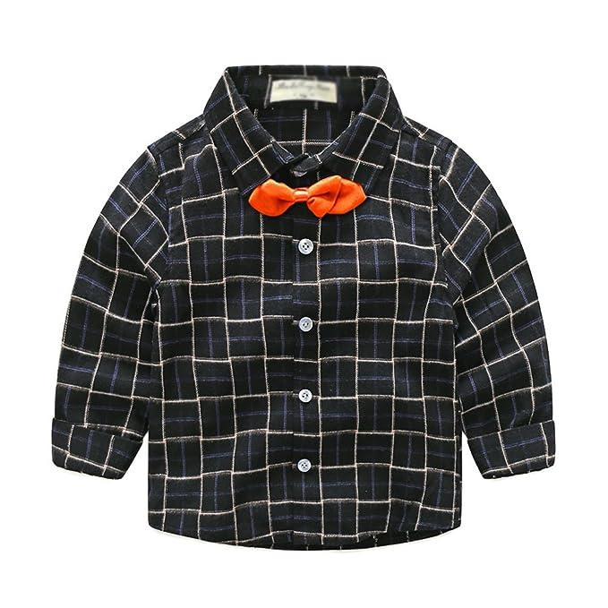 YuanDian Niño Otoño Manga Larga Camisa Cuadro Pajarita Infantiles ...