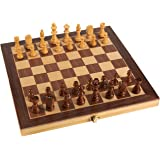 Wooden Chess Set - Wooden Chess Board Game Pieces, Travel, Natural Wood, Great for a Christmas, Secret Santa Gift, 11.4 x 1 x 11.6 inches