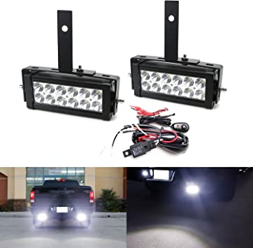 iJDMTOY Tow Hitch LED Pod Lamp Kit For 2003-up Dodge RAM 1500 2500 3500 2 Tow Hitch Mount Brackets /& Relay Harness As Reverse Includes 20W High Power CREE LED Pod Lights Off-Road or Search Light
