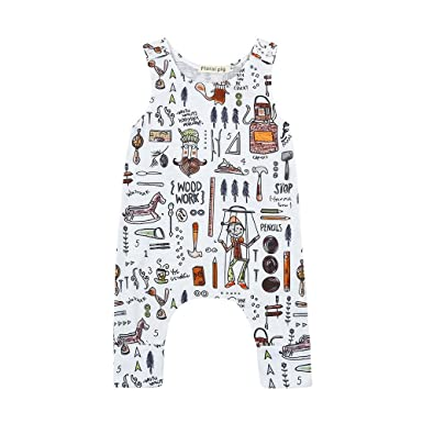 d715ca2d6 Amazon.com  Bokeley Toddler Clothes Baby Boy Girls Jumpsuit Cartoon ...