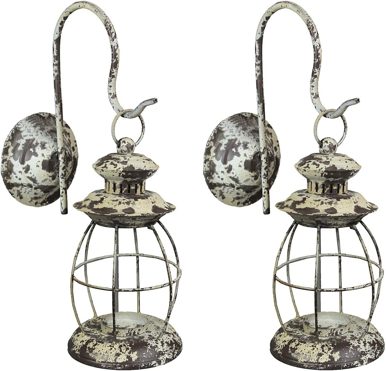 Zeckos Set of 2 Rustic Distressed White Metal Wall Mounted Railroad Lantern Hanging Candle Sconces