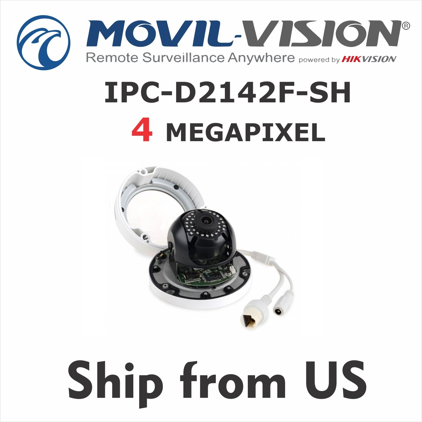 4MP Network Camera IPC-D2142F-SH 3-axis Dome IP Cam 4mm Len Firmware