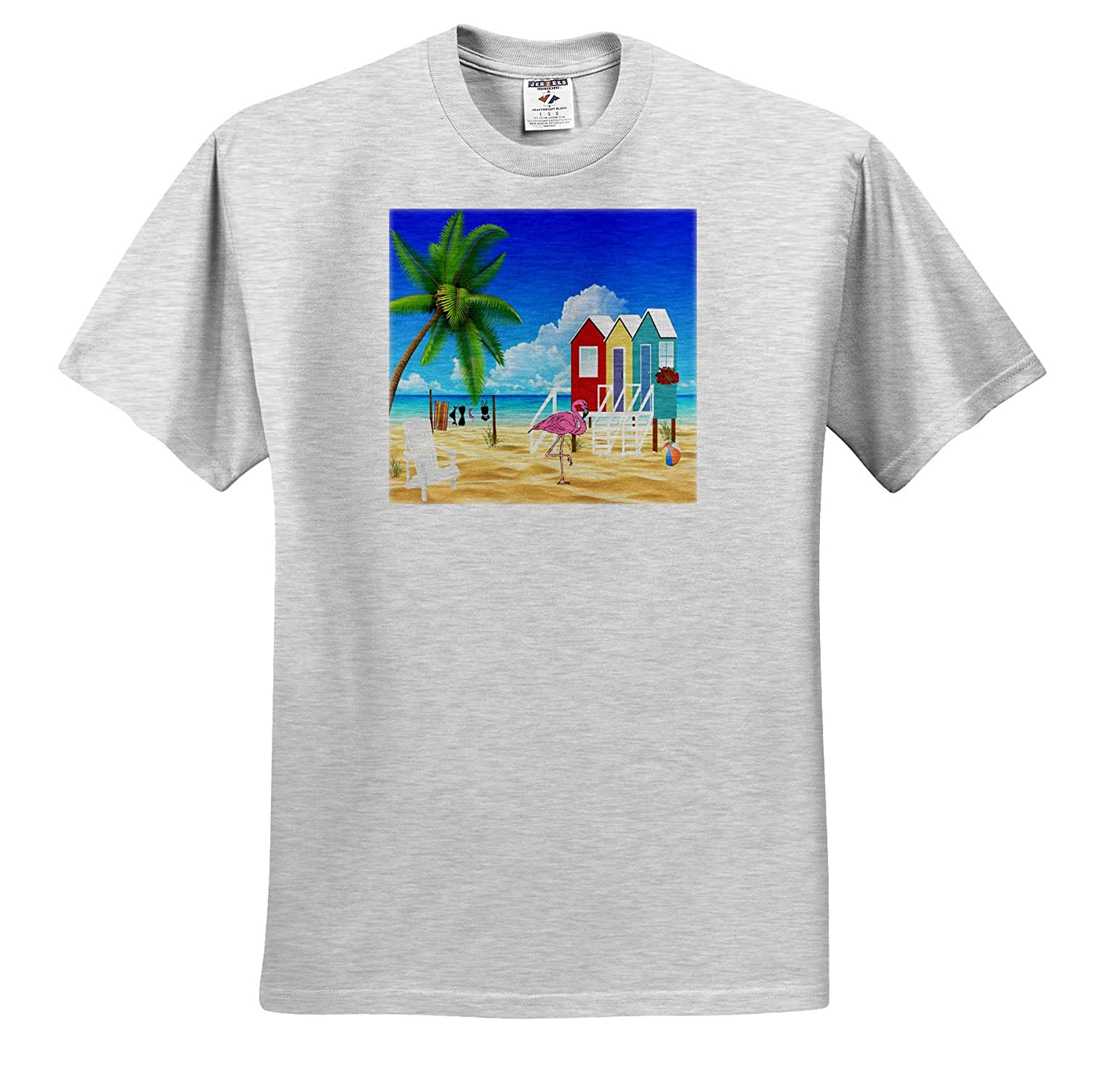 Image of Beach Scene with Flamingo Ocean and Palm Tree Pineapple and Beach Art 3dRose Lens Art by Florene T-Shirts