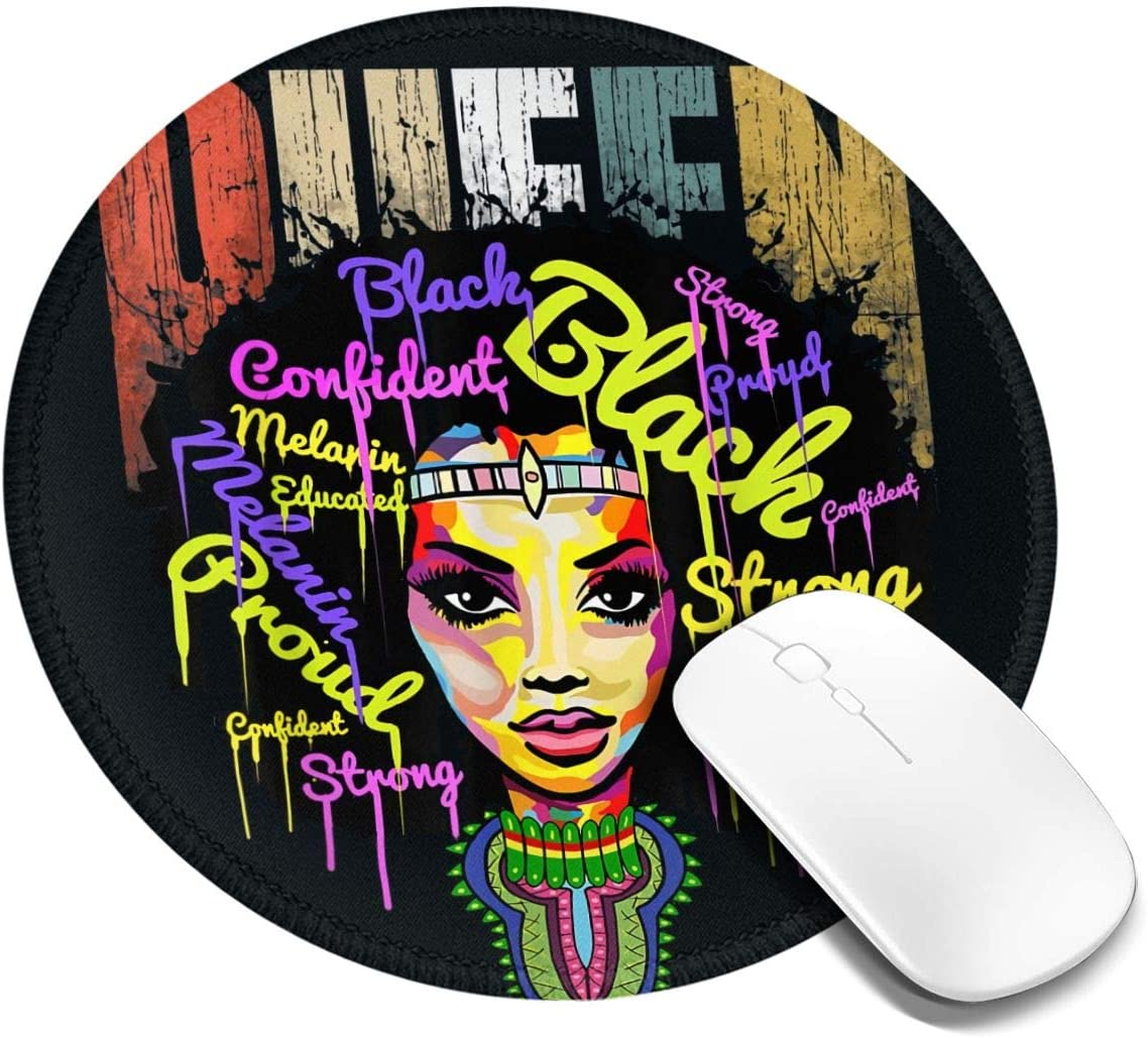 African Queen Shirts for Women Round Mouse Pad, Anti Skid Mouse Pad,