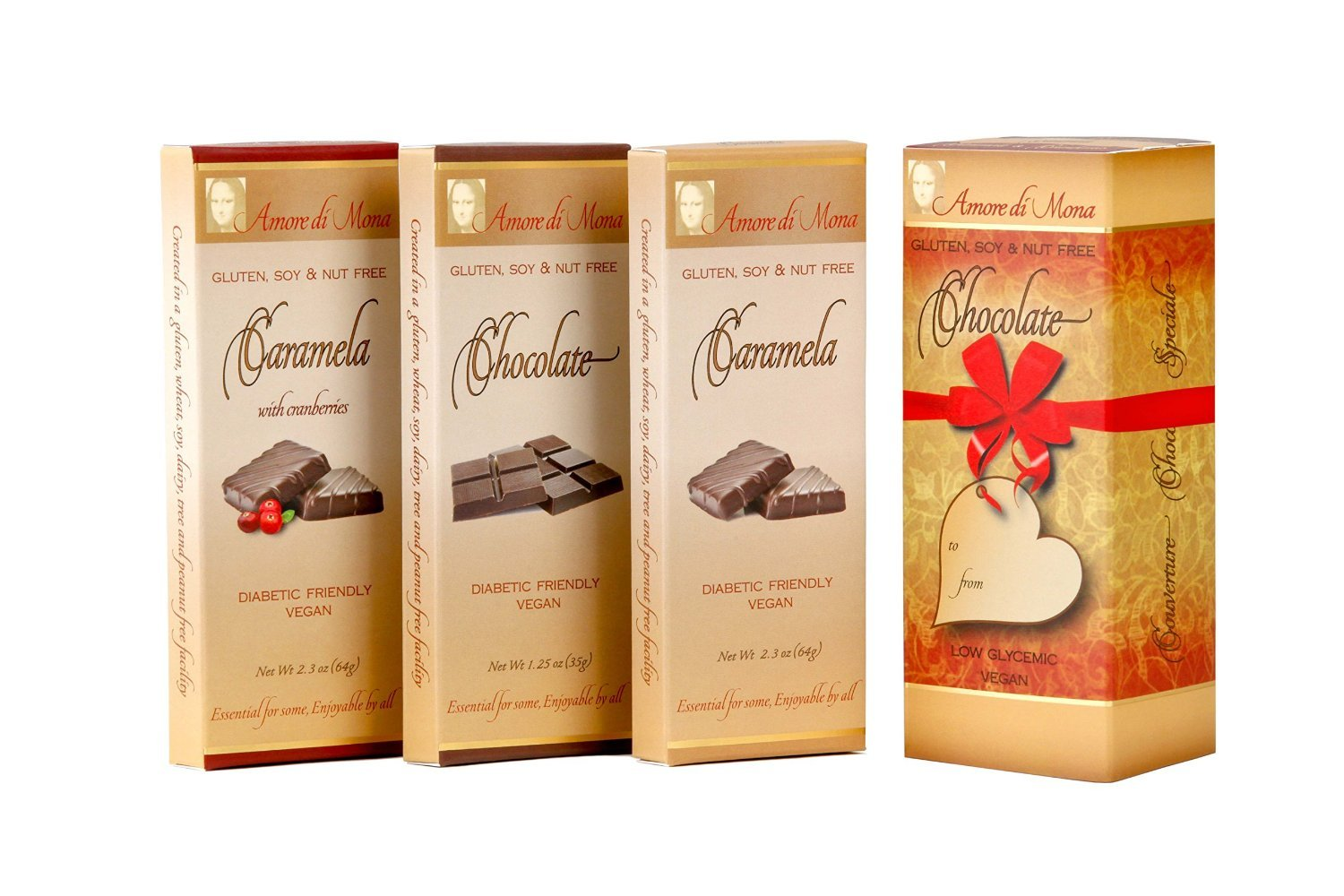 Amore Collection-Amore di Mona Luxury Chocolate Box. No Gluten Peanuts,Tree Nuts, Milk, Sesame or Soy. Vegan, All-Natural, Non-GMO, Low Glycemic