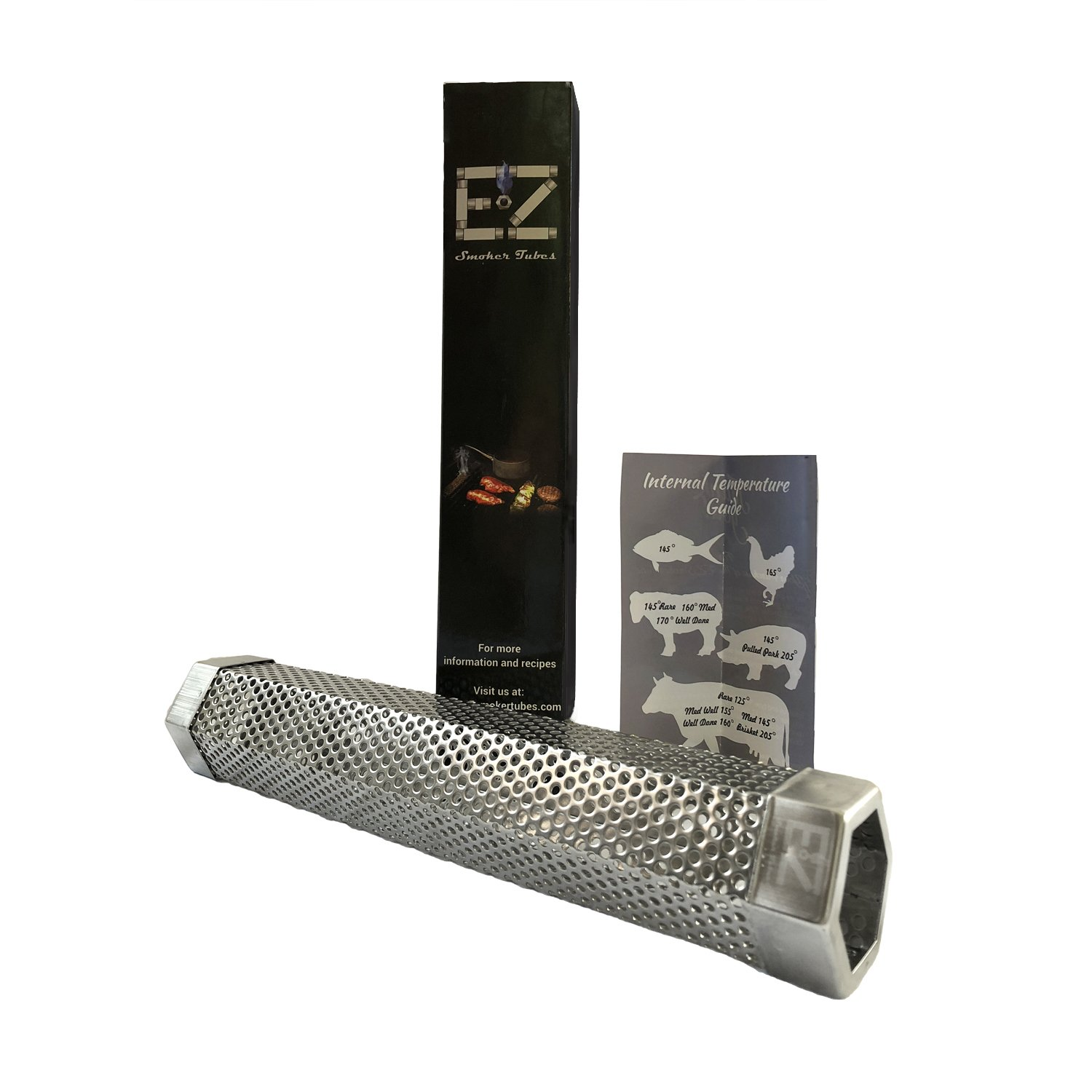 12'' EZ Smoker Tubes Hexagonal Pellet Smoker Tube- Must have grilling accessory. Included with purchase are our popular E-books: 101 EZ Jerky Recipes, Low Carb and Diabetic Friendly Grilling Recipes
