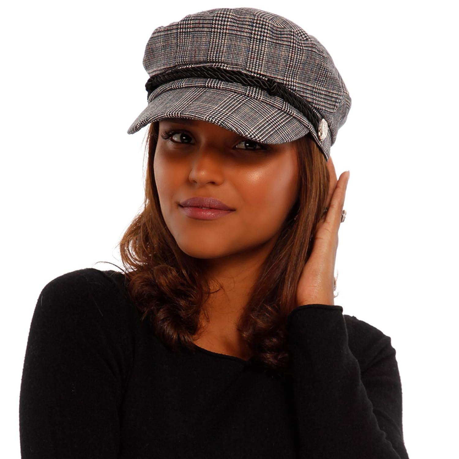 YC Fashion & Style Damen Schiffermütze Kariert Fischermütze Cape mit Schirm und Gummizug Größe:One Size Farbe:Karo