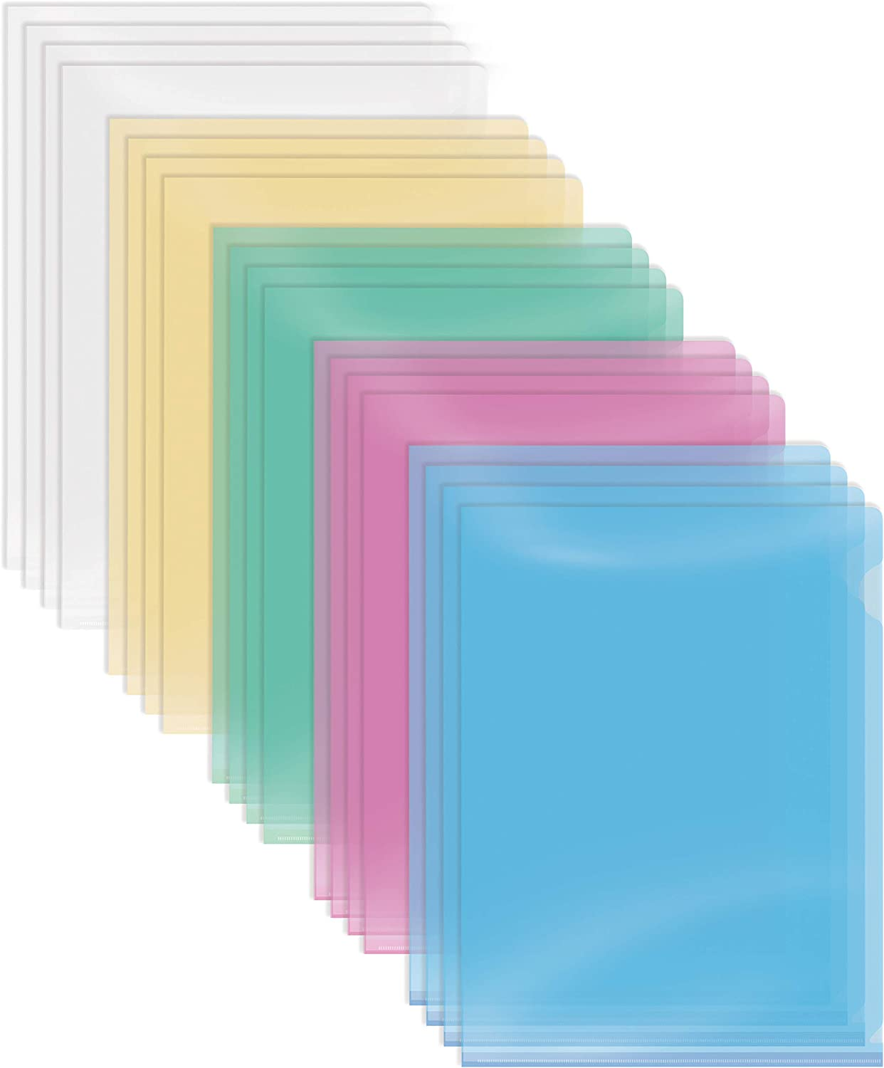 """Poly Project Pockets, 50 Pack, Plastic File Jacket Sleeves for Letter Size Paper, Assorted 5 Translucent Colors, by Better Office Products, Project Folder File Jackets, 9"""" x 11.5"""", 50 Pack"""