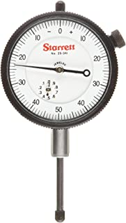 "product image for Starrett 81-141J Dial Indicator, 0.375"" Stem Dia., Lug-on-Center Back, White Dial, 0-50-0 Reading, 1.6875"" Dial Dia., 0-0.25"" Range, 0.001"" Graduation"