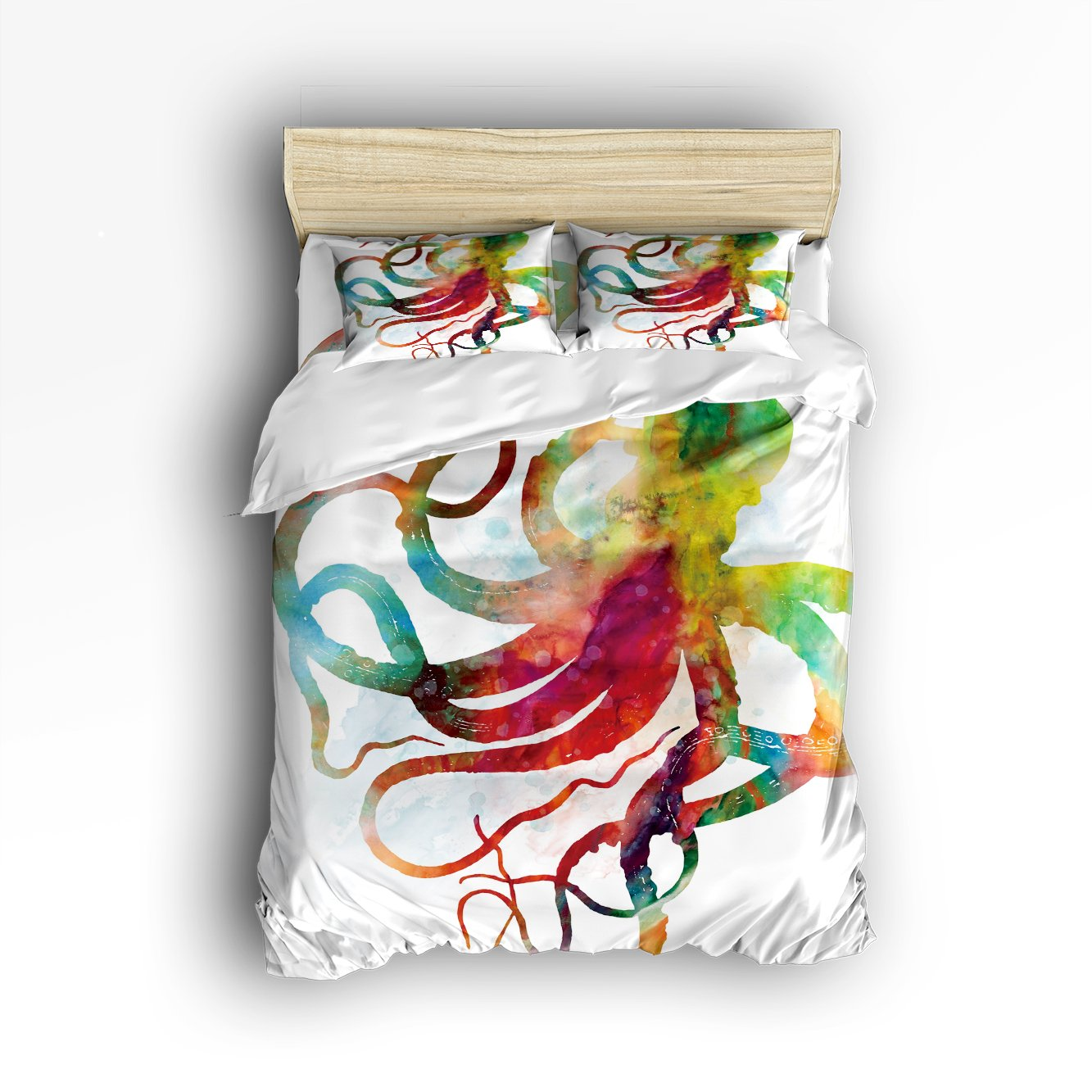 Beauty Decor Bedding 4 Piece bed Set Comfortable Soft Brushed Cotton, Elegant Abstract Colorful Octopus Art 4 Piece Bed Sheet Set Duvet Cover Flat Sheet and 2 Pillow Cases