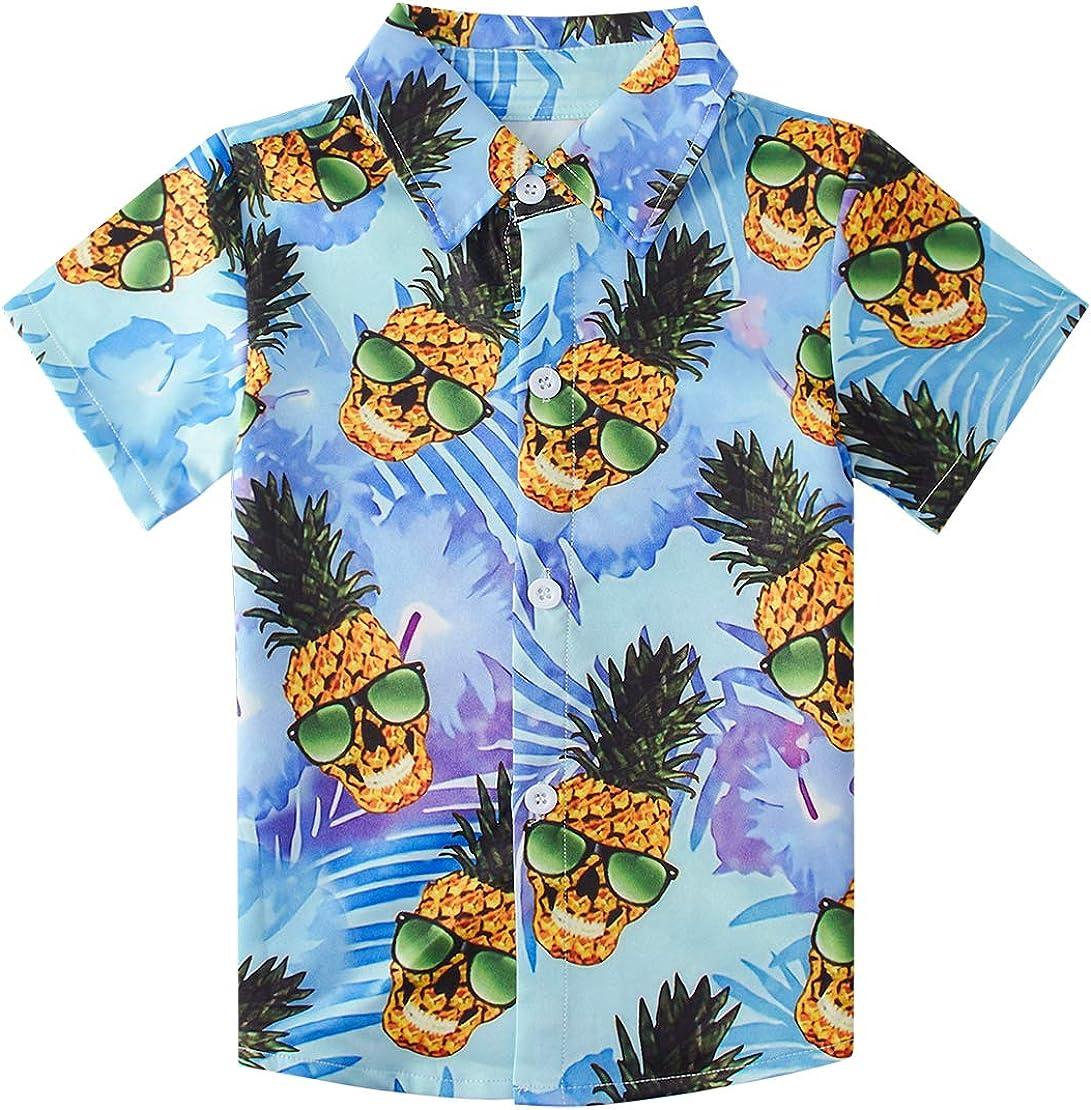 Childrens Boys Short Sleeve Hawaiian Luna Blouses Classic Cute 3D Pattern Blue Glasses Pineapple Island Shirt Teens Noverty Button Up Hawaiian Attire Beach Holiday T Shirt 3-4T