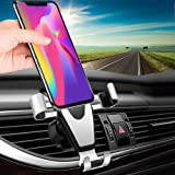 "Car Phone Mount, TAKAGI Clip Gravity Cellphone Holder Mount Bracket Auto Lock Design Air Outlet Smarphones Mounts for iPhone X 8 7 6s Plus Samsung Note Huawei Google LG HTC, Up to 6.0"" inches (Silver)"