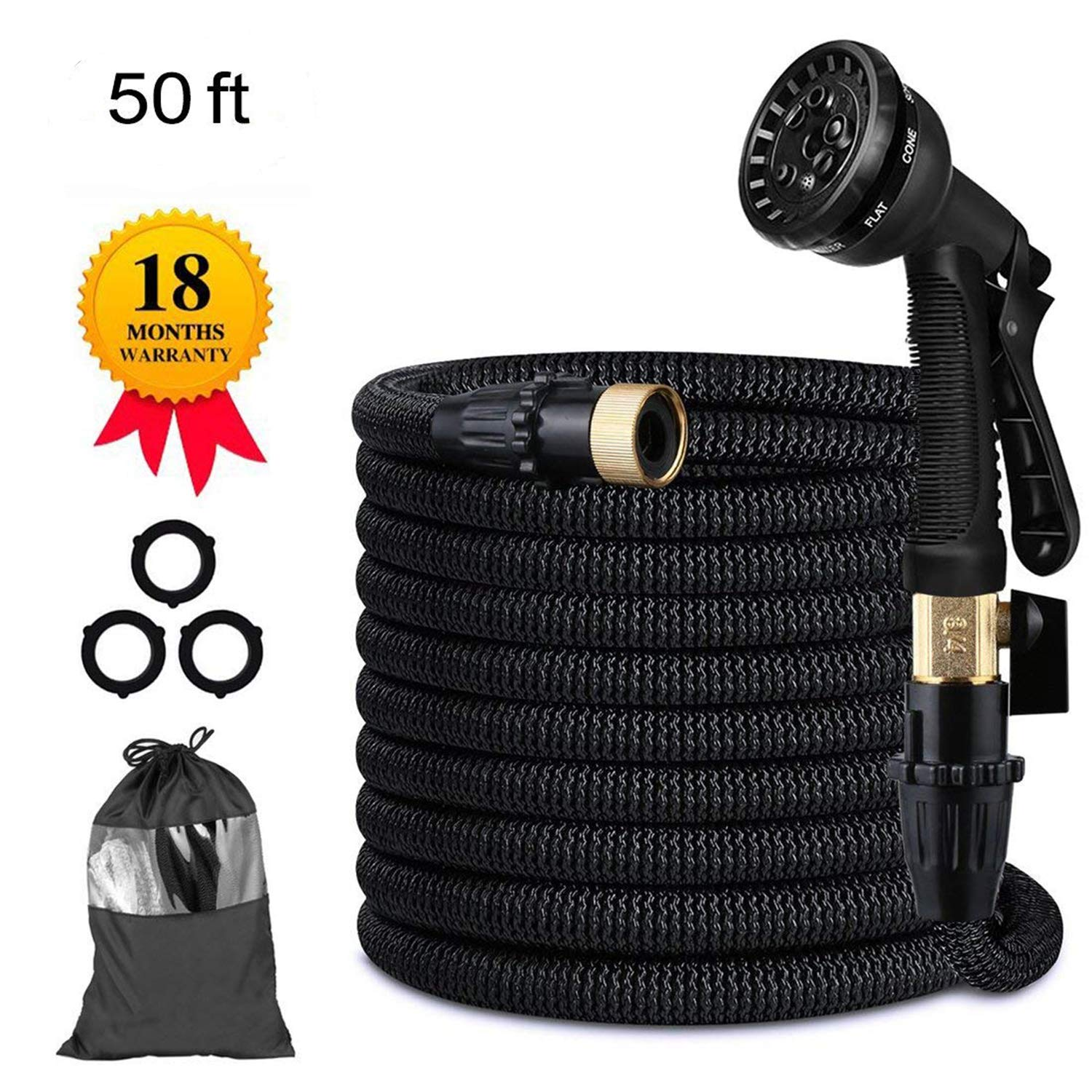 Candywe 50FT Expandable Garden Hose, Flexible Expanding Water Hose with 8 Function Spray Nozzle, Double Latex Core,3/4 Solid Brass Fittings,Storage Bag for Watering Plants, Car, Pet and Cleaning by Candywe