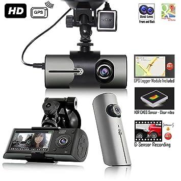 Indigi coche Blackbox DVR Dash Cam + Dual Lens (delantera y trasera) + detección