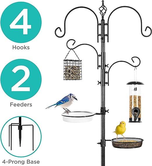 Mejor elección Productos jardín Deluxe – Estación de alimentación para pájaros Kit Soporte Multi Nivel W/baño para pájaros Feeder, 82
