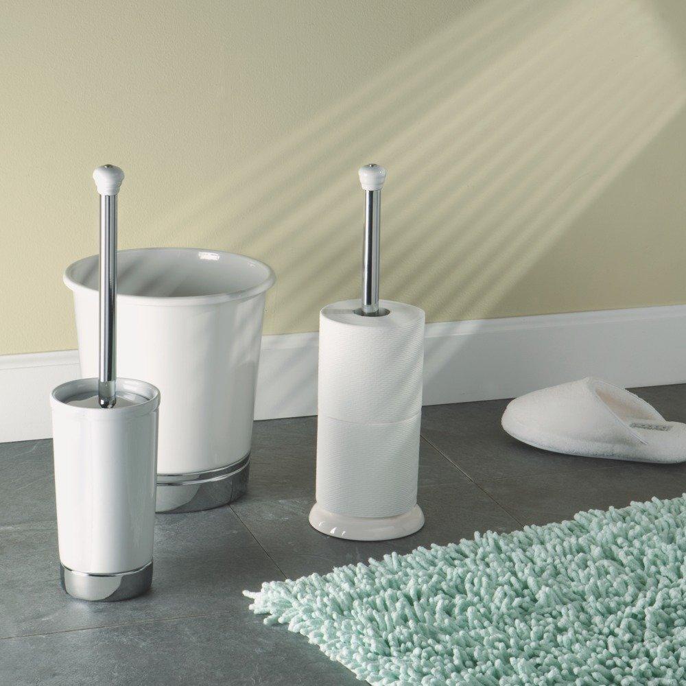 Bathroom accessories bathroom fittings towel racks toilet brush - Amazon Com Interdesign York Toilet Bowl Brush And Holder For Bathroom Storage White Chrome Home Kitchen